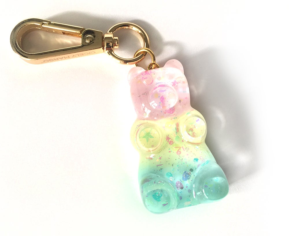 Image of Rainbow Pastel Gummy Bear Bag Charm