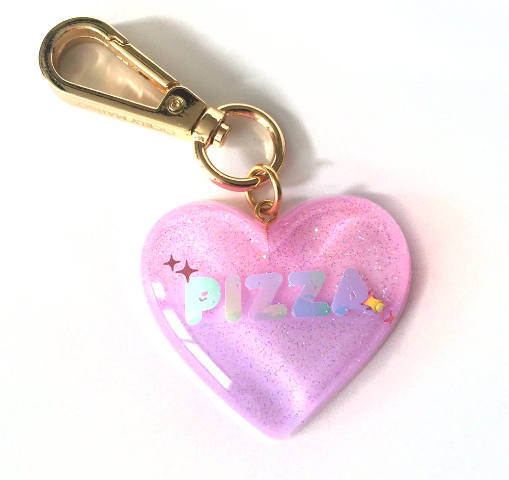 Image of I Love Pizza Sparkle Heart Bag Charm