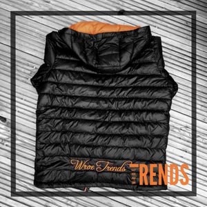 Image of PUFFER JACKET • BLACK & ORANGE + FREE T-SHIRT