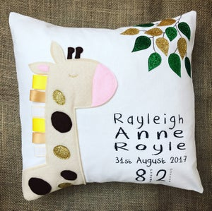 Image of Giraffe personalised cushion