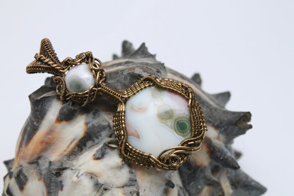 "Image of ""Shiloh"" Wire Wrapped Double Ocean Jasper Amulet Pendant in Bronze Wire"