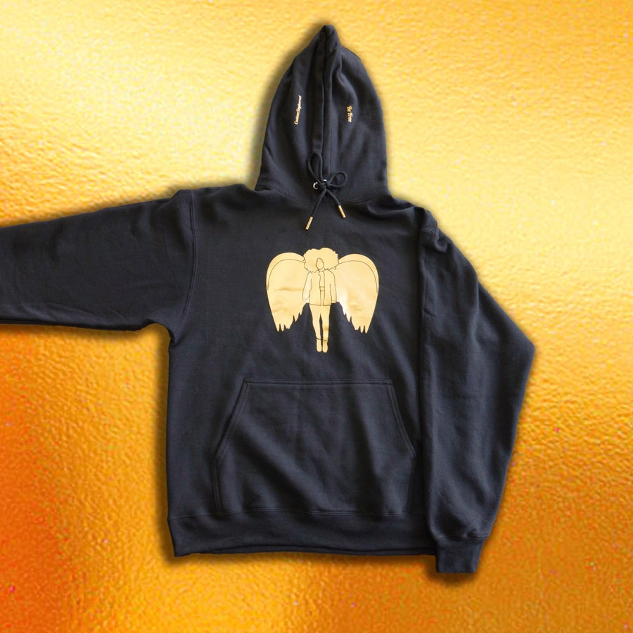 Image of Gold Angel Hoodie in Black