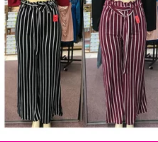 Image of PINSTRIPED WIDE LEG PANTS WITH TIE BELT