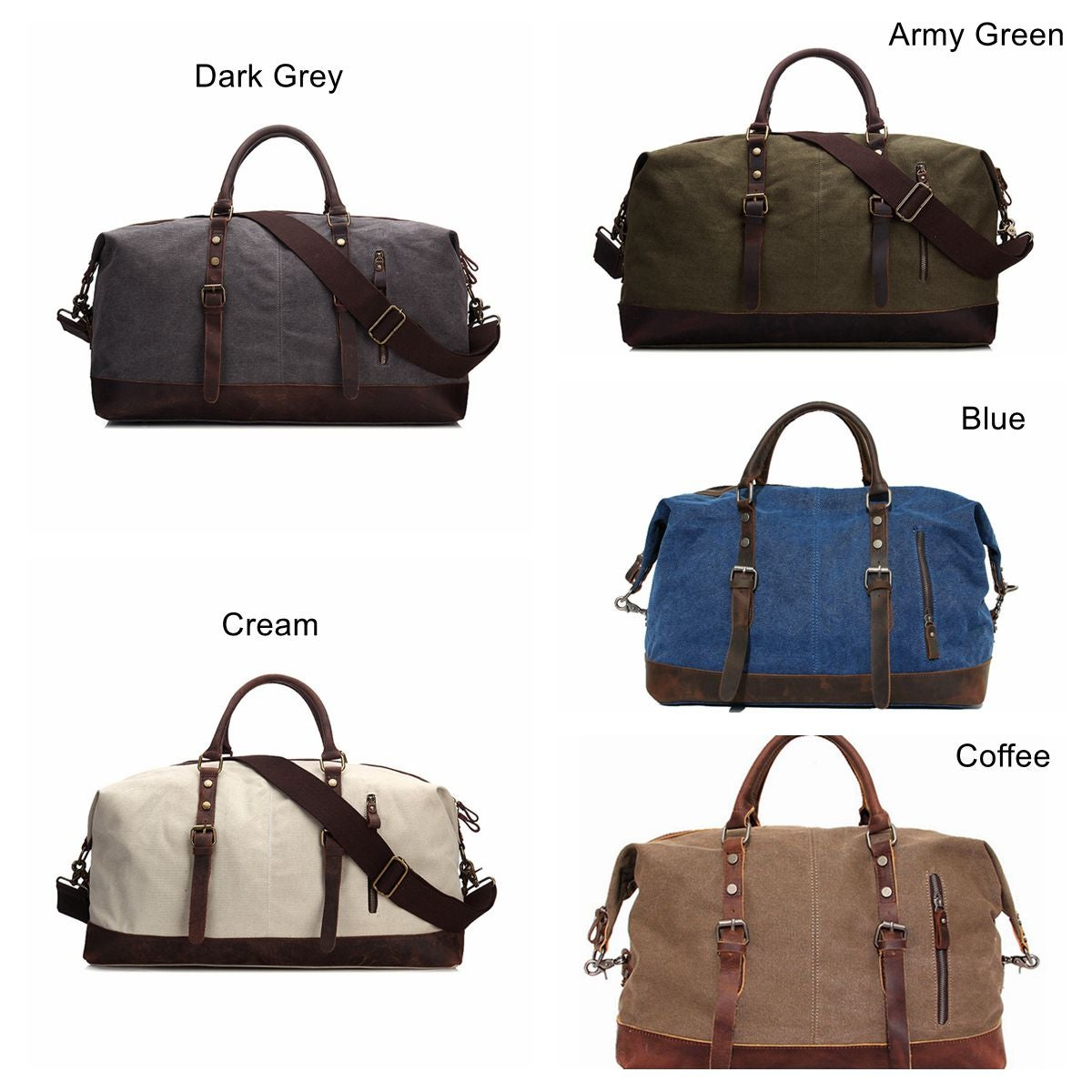 bd918aac235b Handmade Waxed Canvas Leather Travel Bag Duffle Bag Holdall Luggage  Weekender Bag 12031