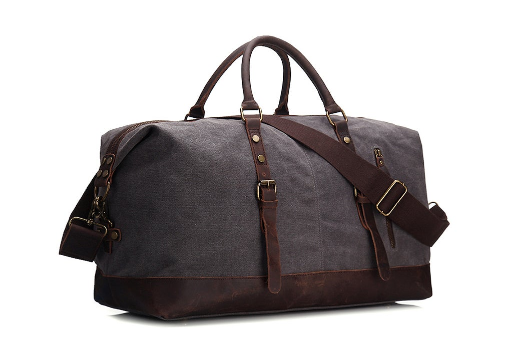 71bcf9cd934f Image of Handmade Waxed Canvas Leather Travel Bag Duffle Bag Holdall  Luggage Weekender Bag 12031