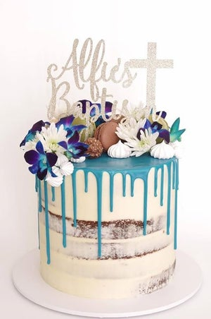 Image of Baptism Cross Cake Topper