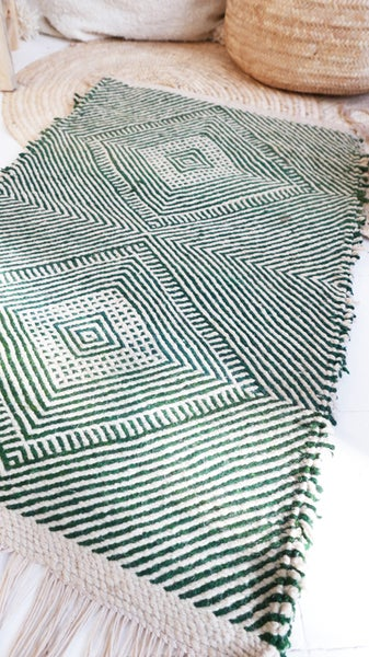 Image of Moroccan Small Kilim Rug - Diamonds Pattern Flatweave green