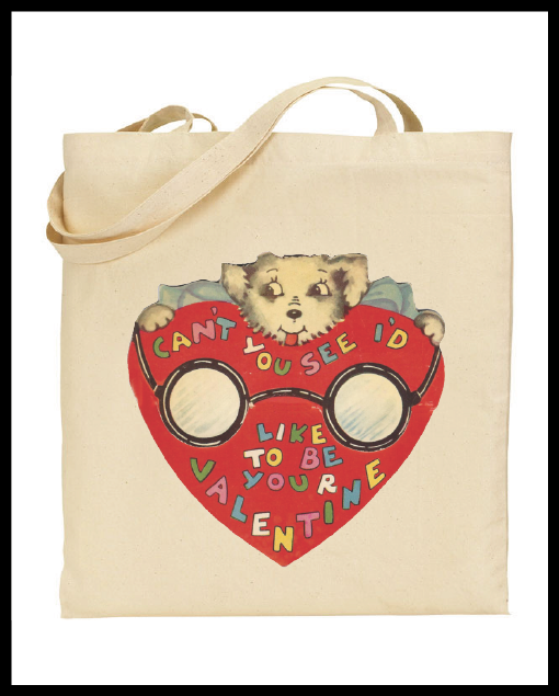 "Image of Vintage Valentine's Day Card ""Like To Be Your Valentine"" Graphic Cotton Tote Bag"