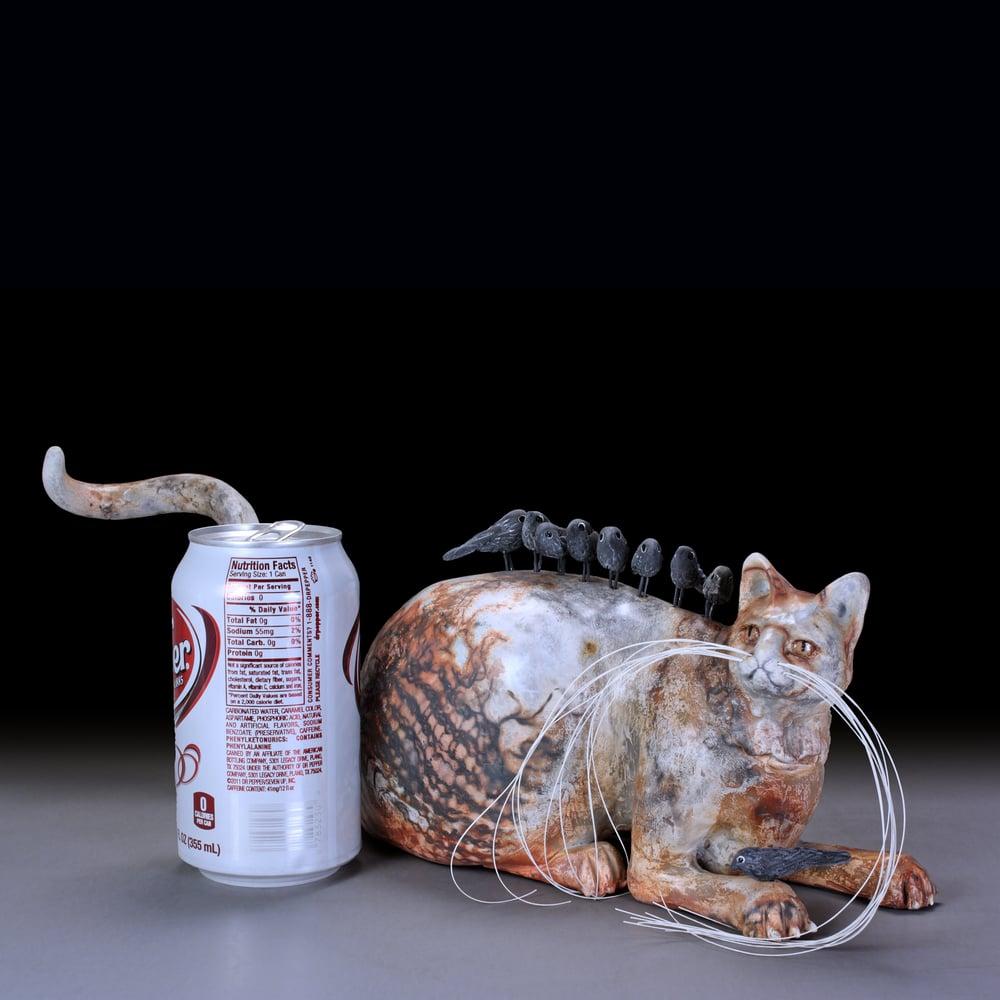 Image of Tabby Cat Ceramic Sculpture Urn