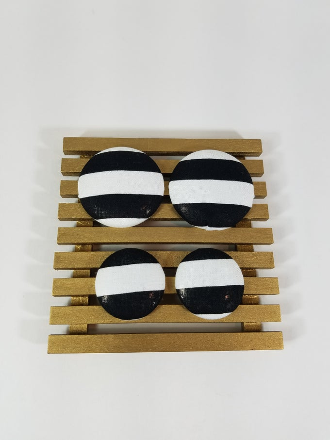 Image of Black/White Striped Button Earrings