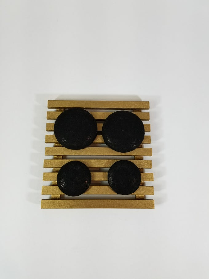 Image of Solid Black Button Earrings