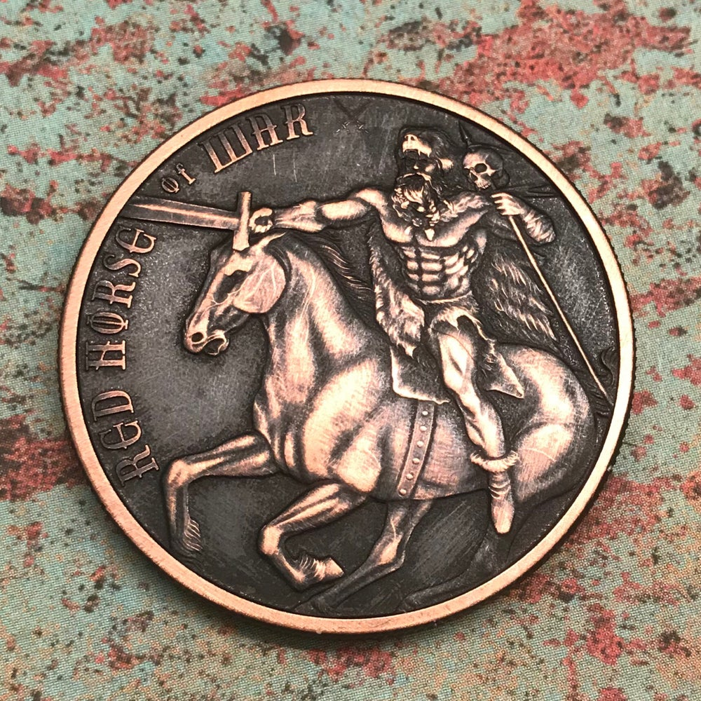 Image of Red Horse of War 1oz Copper Challenge Coin
