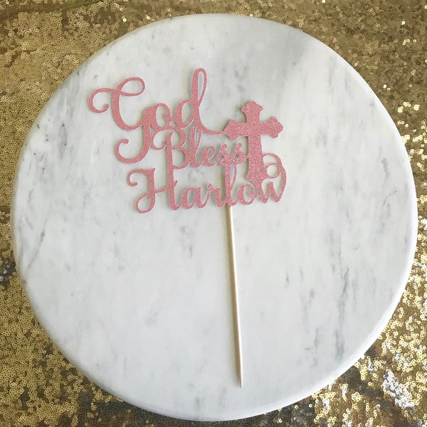 Image of God Bless Cake Topper