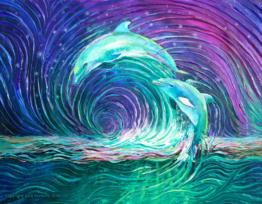 Image of Dolphin Dance Energy Painting - Giclee Print