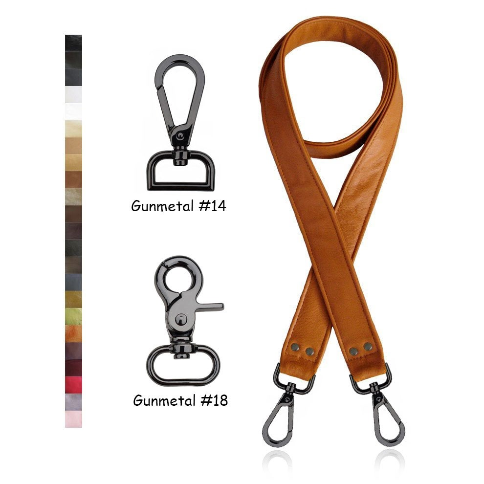"Image of SALE! Crossbody Leather Strap - 1.5"" Wide - Gunmetal Hooks - Choice of 25 Colors & Length"
