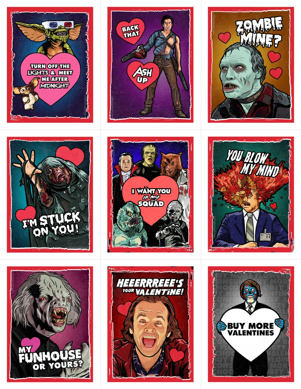 80's Horror Valentine's Day Card Pack (2018)