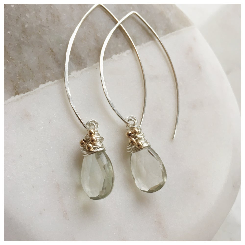 Image of Green Amethyst Sterling Silver arch wrap earrings