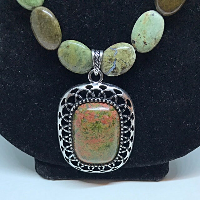 'Dancing Forrest' Natural Jasper necklace with sterling silver toggle clasp