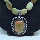Image of 'Dancing Forrest' Natural Jasper necklace with sterling silver toggle clasp