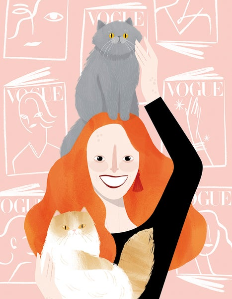 Image of Grace Coddington, Bart & pumpkin