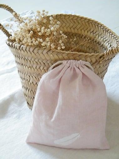 Image of Sac lin rose garni