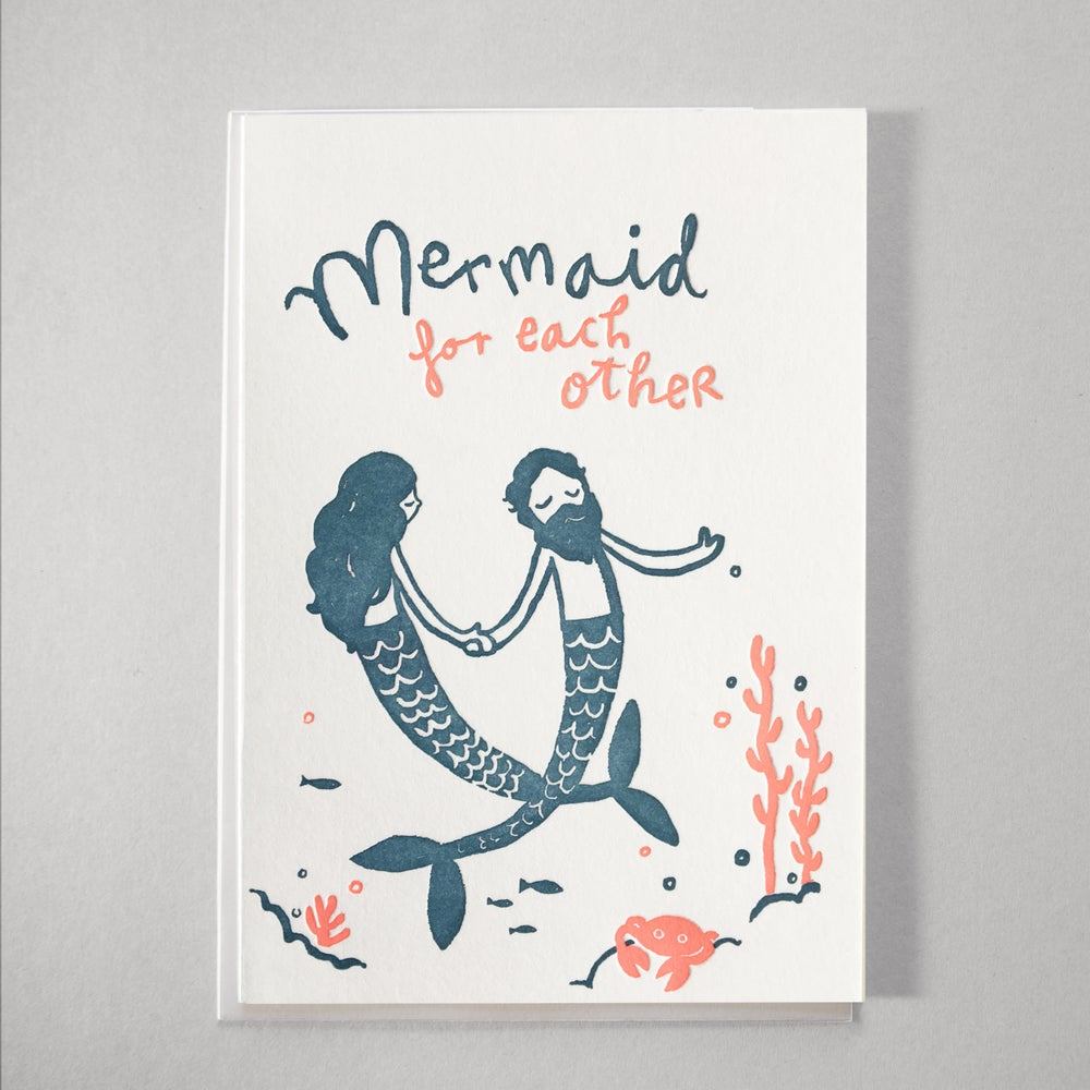Image of Letterpress Wedding Marriage Congratulations card for a wedding /  Mermaids Love