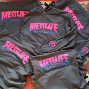 Image of MESSLIFE Pink/Blue Retro Fade Longsleeve