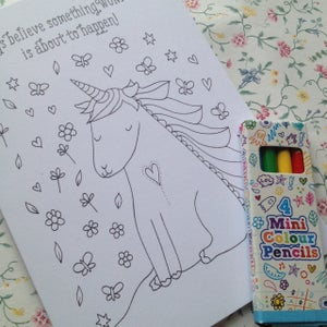 Image of Unicorn Colouring Card/Party Favours