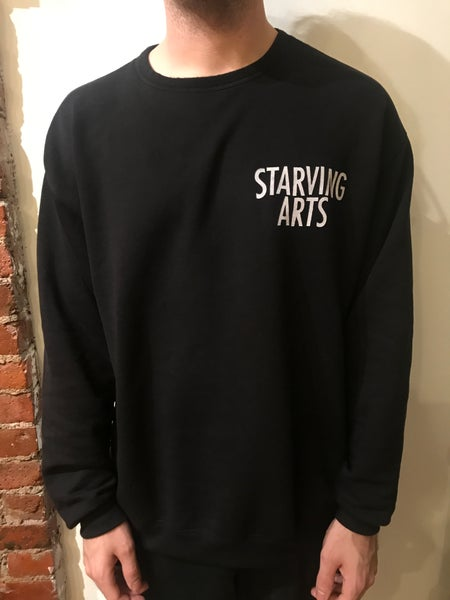 Image of Logo Pocket Print - Black Crewneck