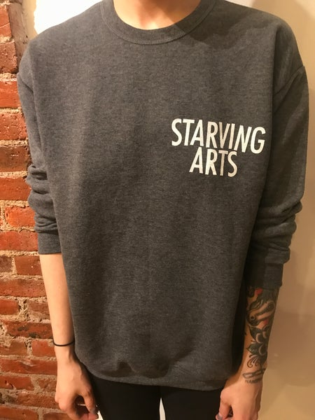 Image of Logo Pocket Print - Grey Crewneck