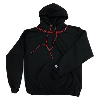 HAND EMBROIDERED RED BARBED PULLOVER - Sean + Kelly