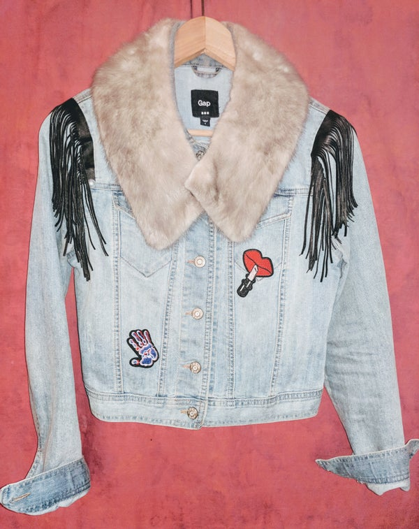 Image of Custom Denim~Mink~Leatherette Fringe Jacket