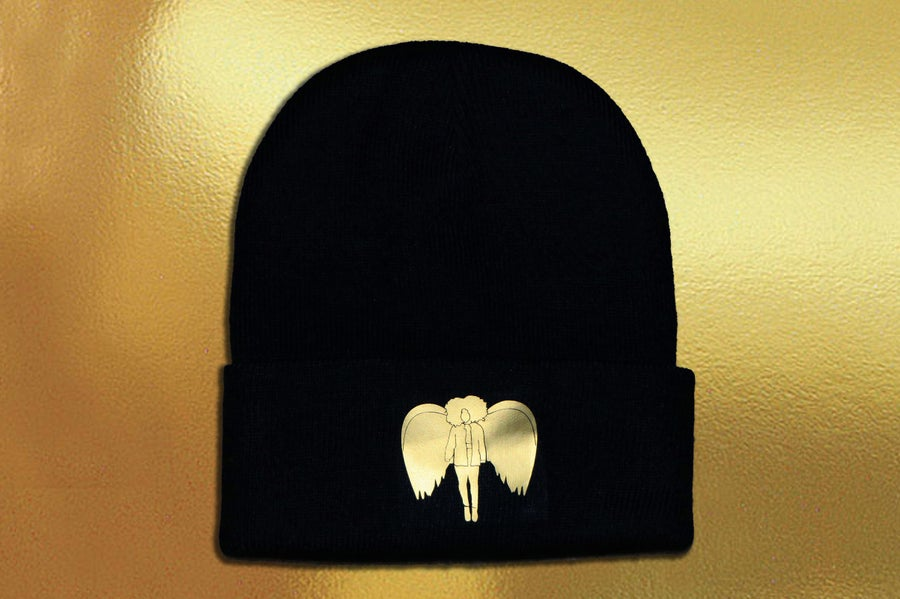 Image of Gold Angel Beanie in Black