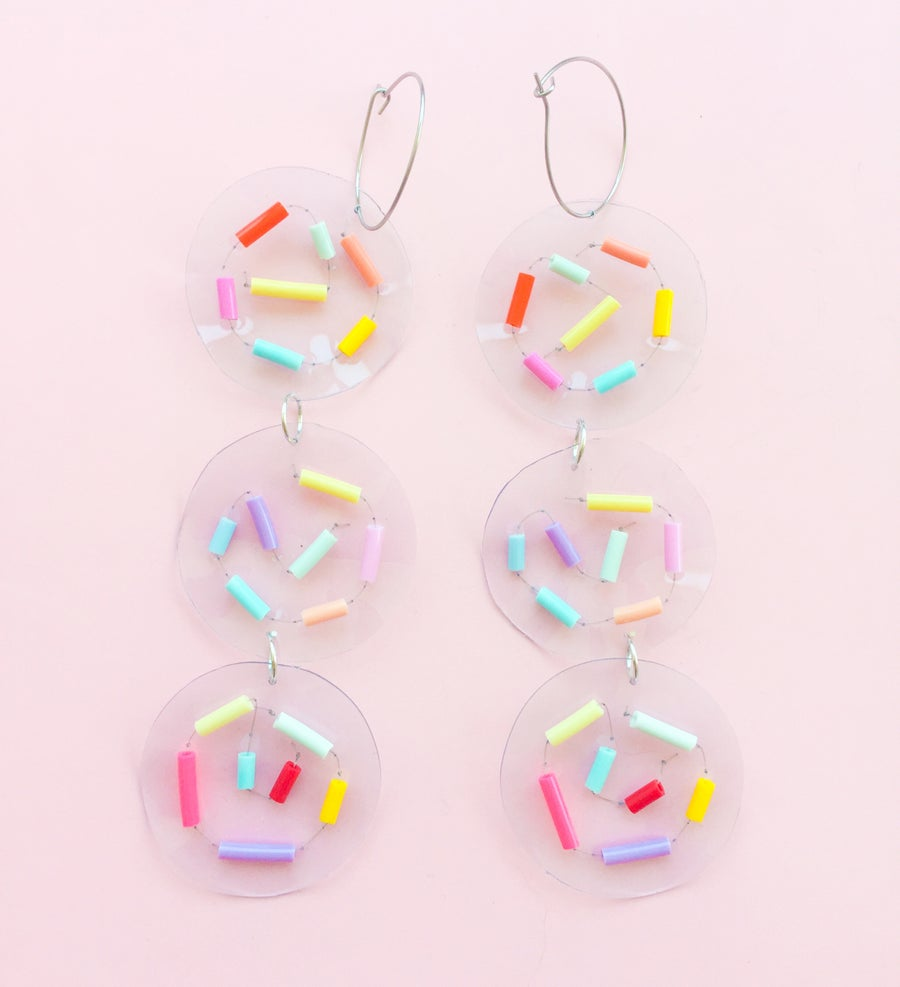 Image of Confetti streamer- hoop dangles