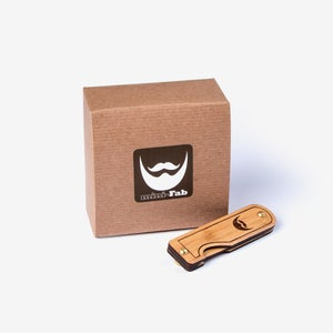 Image of Father's Day Gift for Men - Wood Folding Beard Comb Made from Sustainable Bamboo in Texas U.S.A.