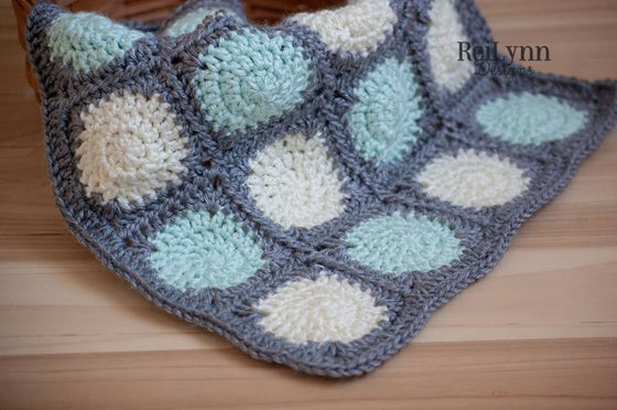 Image of Truffle Mini Afghan in Mint, Gray and Ivory