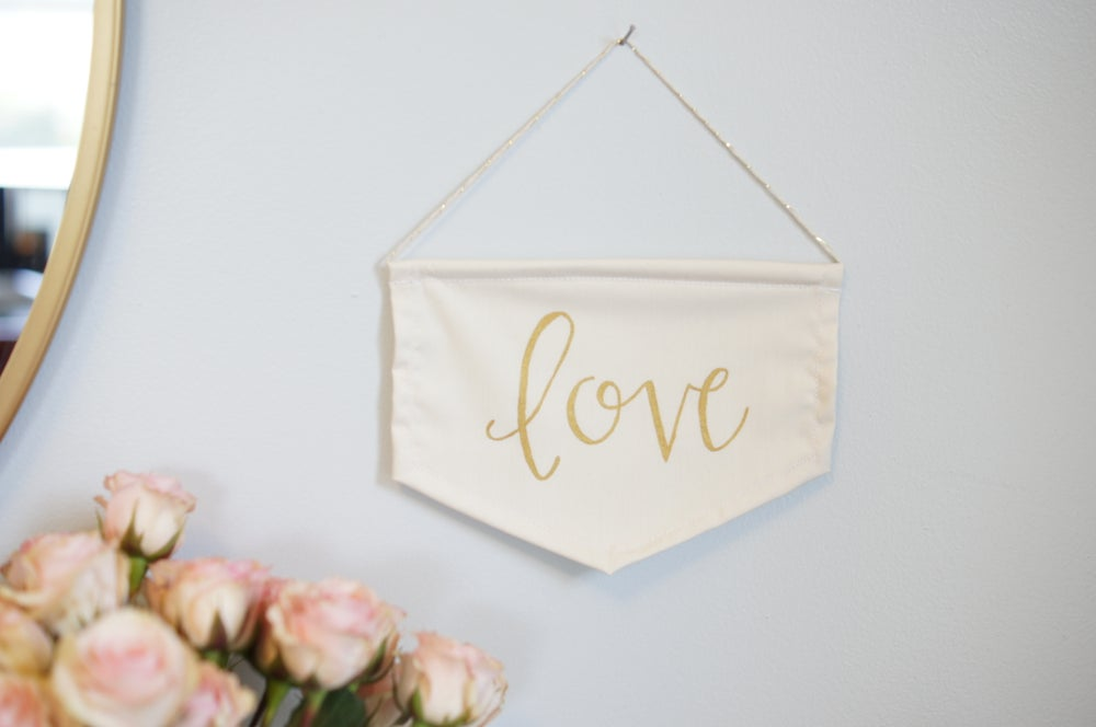 Image of LOVE Mini Flag (Red or Gold)