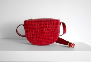 Image of Crossbody | Red Croco Print Patent