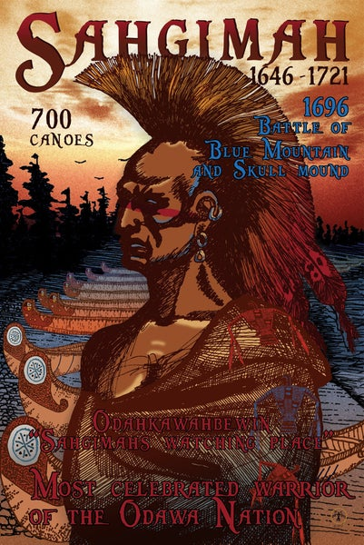 Image of Sahgimah 700 Canoes Poster, 24 x 36. Offset Lithograph, Signed.