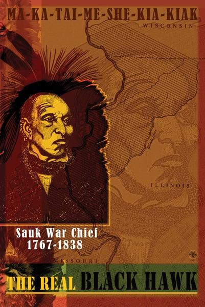 Image of Black Hawk (Sauk War Chief) Poster, 24 x 36. Offset Lithograph, Signed.