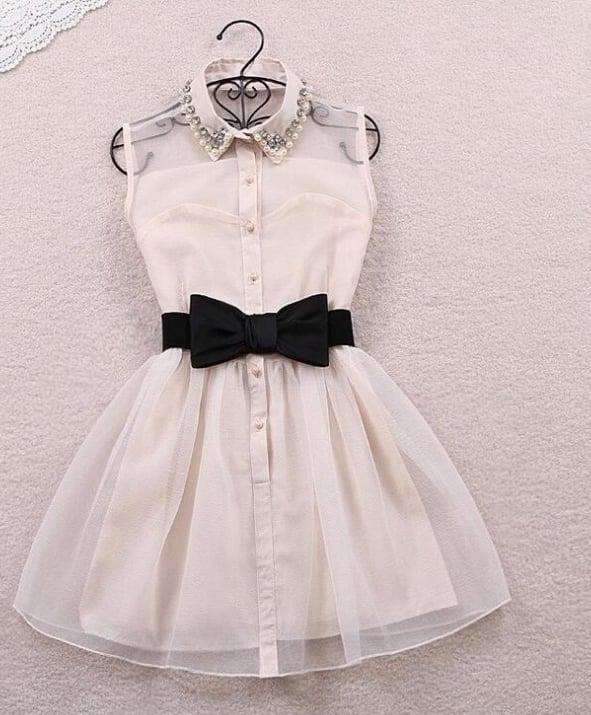 Image of Hot style lapel organza dress.
