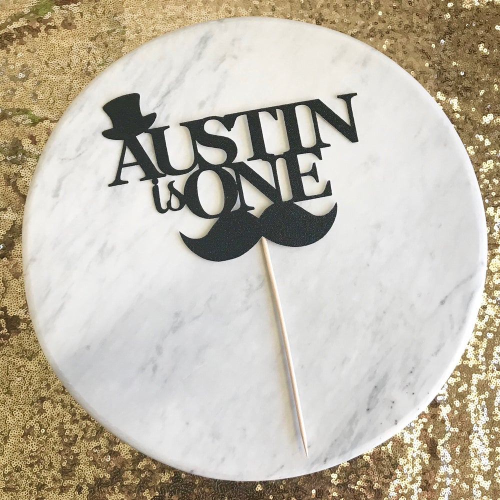 Image of Age and Name Moustache Cake Topper