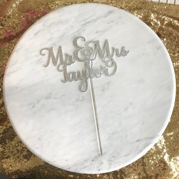 Image of Mr & Mrs Name Cake Topper