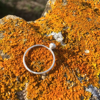 Image of Pure Silver Ring with Silver Ball Feature