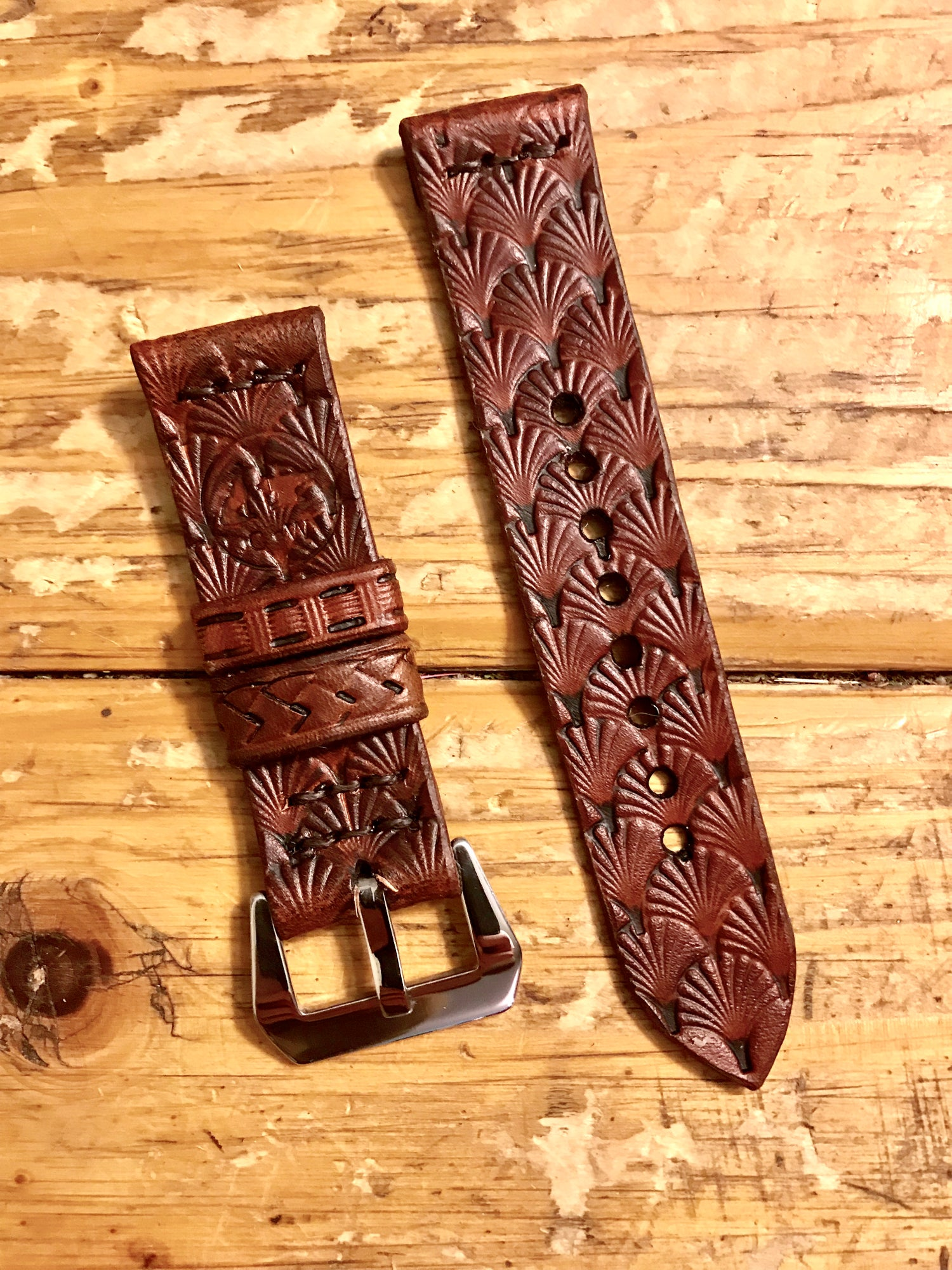 Image of Hand Designed & Tooled Premium Leather Watch Strap