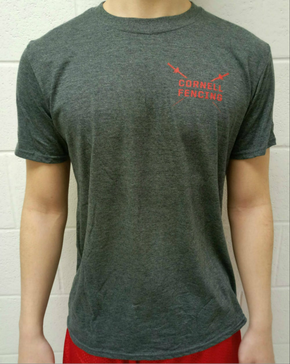Image of Cornell Fencing T-Shirt w/ Mask on Back (Grey)