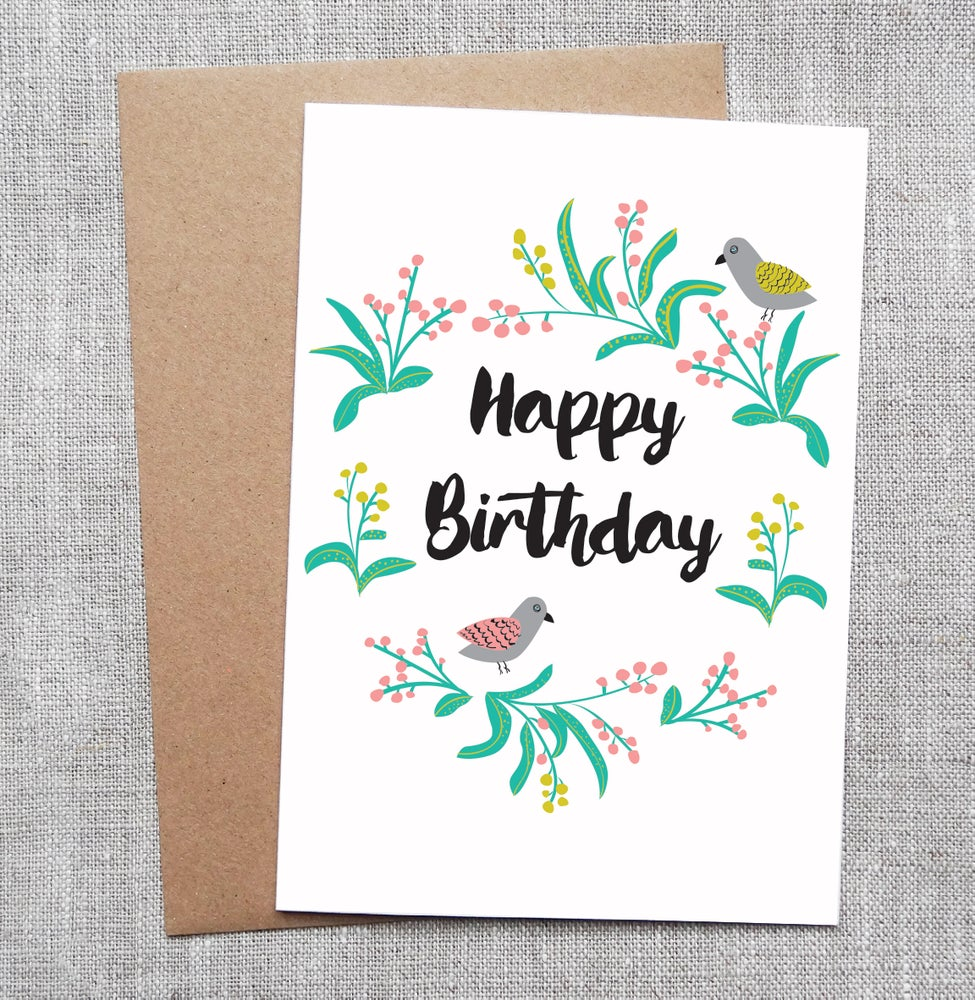 Image Of Illustrated Greeting Card Flowers