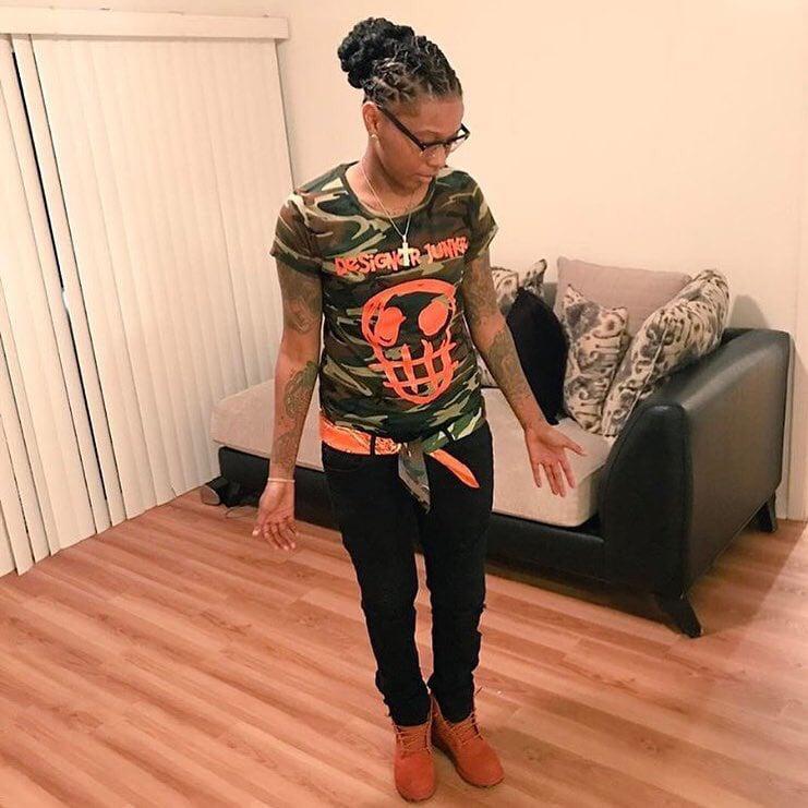Image of Camo Designer Junkie Big Face Tee ( Orange )