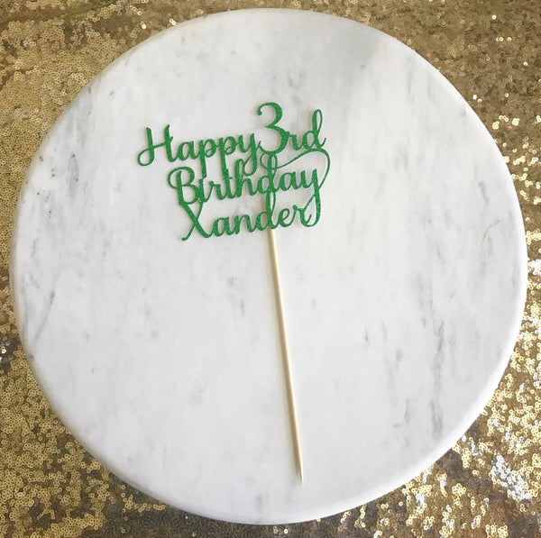 Image of Happy Birthday Name Cake Topper
