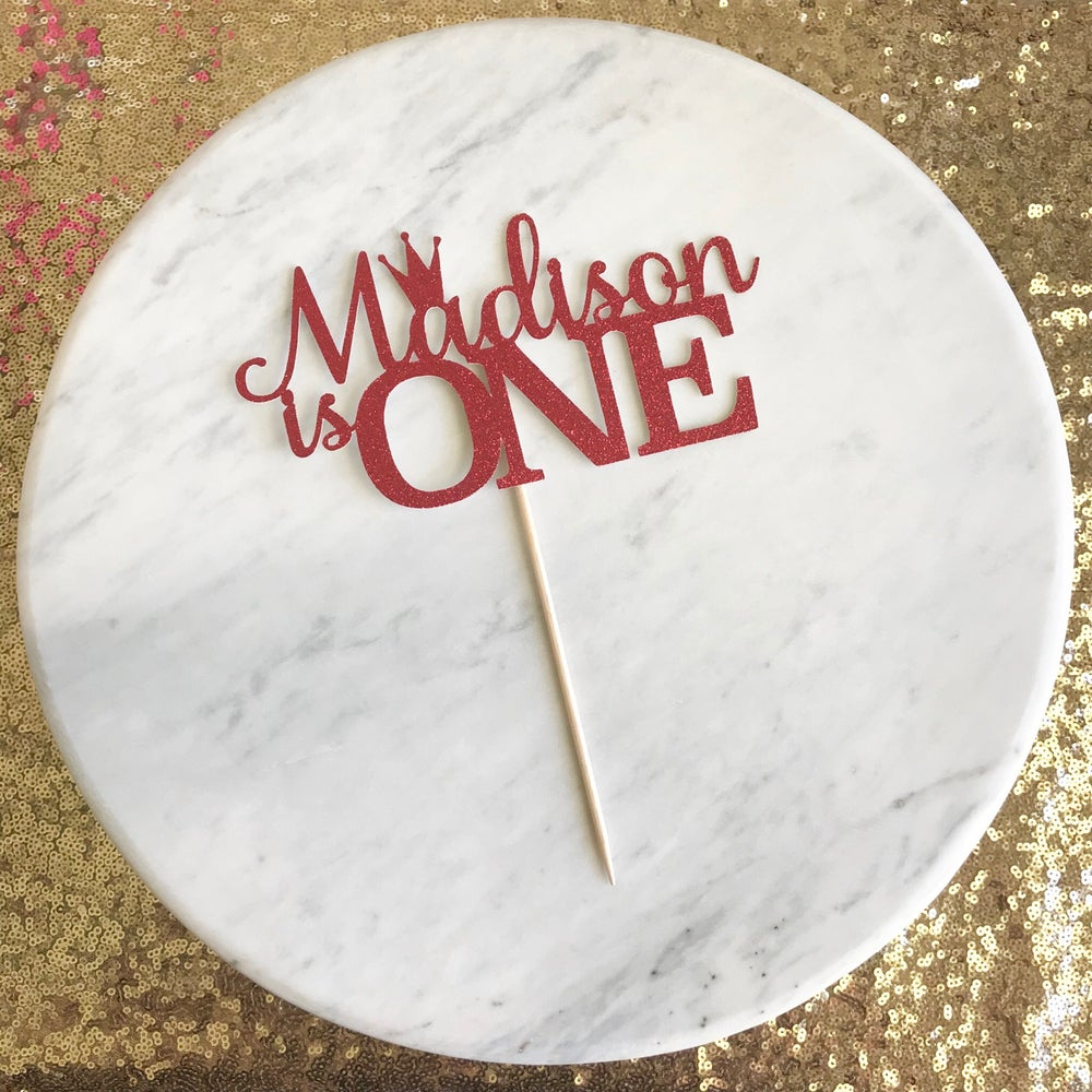 Image of Name is One Crown Cake Topper